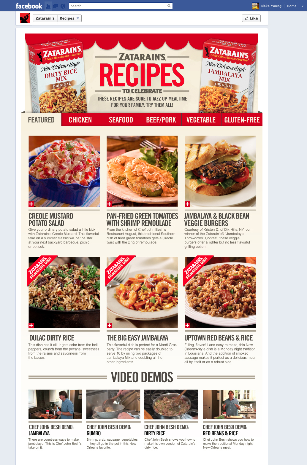 Zatarains facebook apps my name is blake young recipes app forumfinder Choice Image